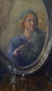 Autoportretas prie veidrodžio.  E. Kabiščer-Jakerson.1920 m. pab. – 1930 m. pr.