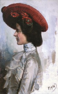 Dama su raudona skrybėle. 1908 m.