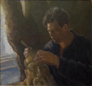 Dirbančio skulptoriaus D. Jakersono portretas.  E. Kabiščer-Jakerson. 1920 m. pab. – 1930 m. pr.