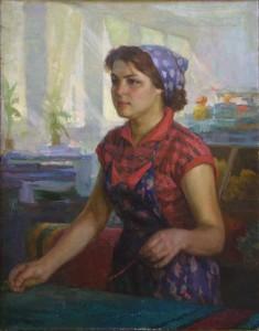 """Fabriko ,,KIM""""darbininkės G. Isačenko portretas. P. Javičius. 1968 m."""