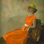 Mergina oranžine suknele. I. Borovskis. 1980 m.