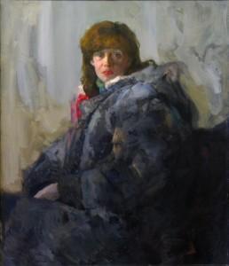 Moters su kailiniais portretas. I. Borovskis. 1986 m.