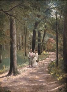 Pasivaikščiojimas miške. 1920 m. pab.