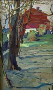 Peizažas su raudonu namu.  I. Borovskis. 1980 m.